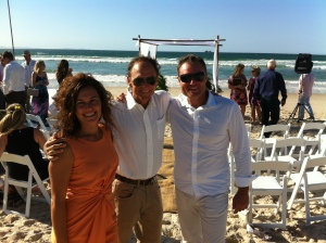 jess, jas n myself getting ready for the wedding on the beach