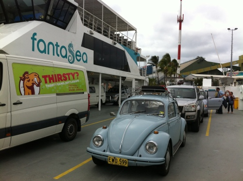 on the car ferry to magnetic island on  the fanta sea car ferry departing townsville