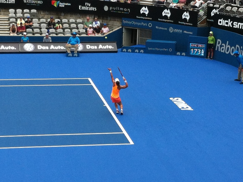 sydney tennis n my fav aus female - sam slamming a serve down